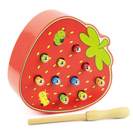 $enCountryForm.capitalKeyWord UK - Apple Srewberry Kids Wooden Toys Catch Worms Games with Magnetic Stick Montessori Educational Creature Game Puzzles Toys