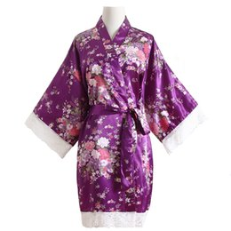Chinese  Print Flower Chinese Female Robes Satin Sleepwear Wedding Bride Bridesmaid Dressing Gown Mini Nightdress Lounge Home Wear manufacturers