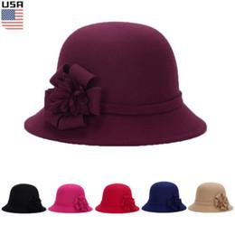 49f5b523fb0812 Womens Ladies Flower Brim Wool Felt Hat Floppy Bowler Fedora Cloche Winter  Cap Ladies Flower Patchwork Fedoras