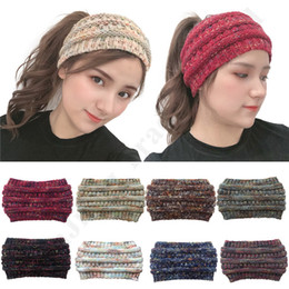 Wholesale ear tail costume for sale – halloween Women CC Headband Brand Crochet Headwraps Girls Ponytail Caps Hair Band Stretchy Warm Ear Muffs Knit Beanie Messy Bun Pony Tail Hat C92405