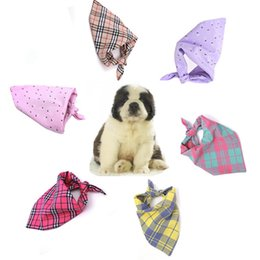 China Dog Apparel Printed Dog Plaid Scarf Bandanas S Size Lattice Pet Dog Cat Triangle Neck Scarf Necktie Bandana Collar Neckerchief DH0544 T03 cheap bandana scarf size suppliers
