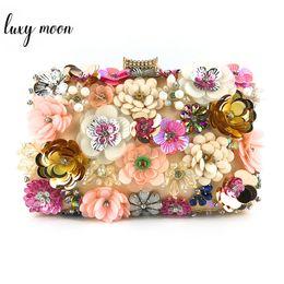 Ladies Evening Handbags Australia - Luxury Handmade Beaded Women Clutch Bags Sequined Flower Evening Clutch Purse Exquisite Female Party Clutches Chain Handbag
