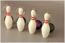 $enCountryForm.capitalKeyWord UK - Free DHL 4 Colors Sports Keychains Bowling Keychain Colorful Pendant Keyrings Key Holder Bag Car Key Ring Christmas Gift Wholesale