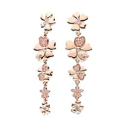 $enCountryForm.capitalKeyWord Australia - Luxury designer 18K Rose Gold Tassel EARRING with Original Box Set for Pandora 925 Sterling Silver flowers Pendant Gift Long Earrings