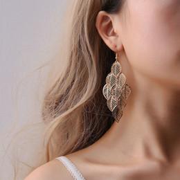 Leaf Shapes Plates Australia - Fashion leaf shape cheap tassel earring multilayer long shape hollow tassel earring for women lady gift korean fashion wholeslae jewelry
