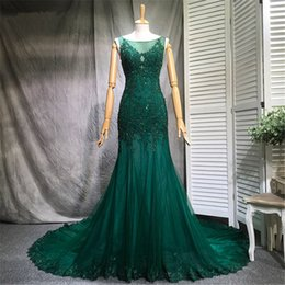 Empire Lace Applique Dress Australia - 2018 setwell green lace mermaid evening dresses custom sweep train sequins lace appliques evening gowns Jewel prom dress robe de soiree