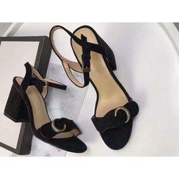 Designer Fabric Brands Australia - Designer 2019 New Luxury high Heels Leather suede mid-heel Brand sandal Women woman summer sandals Size 35-40 Girls summer shoes
