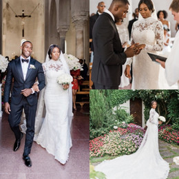 af52caec088 2019 African Mermaid Wedding Dresses With Wrap High Neck Lace Long Sleeve  Sweep Train India Bridal Gowns Plus Size Dubai robe de mariée
