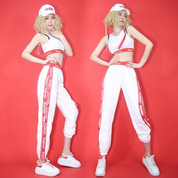 Dancing Poles Australia - Sexy Dance Costumes Ladies White Vest Pants Hip Hop Clothes Women Jazz Nightclub Singer Stage Pole Dance Performance Wear DN3108