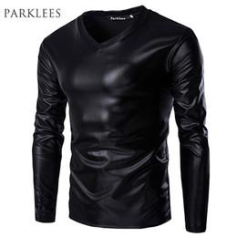 Metallic Gold Shirt Australia - Cool Black Metallic T Men Brand Long Sleeve V Neck Glossy Mens T-shirt Casual Fitness Night Club Wear Tee Shirt Homme Xxl Q190428