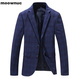 Blue Plaid Jacket Australia - 2019 spring mens Jacket fashion Casual slim fit Blazers men Business dress mens Blue Plaid blazer Men full size M-4XL