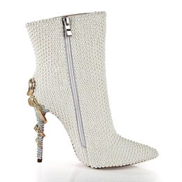1164d2bbf207 LSDN-1303 New Fashion Sexy Pearl Metal Snake-heel Shoes Women Tip  Fine-heeled Side Zipper Night Club High-heeled Boots