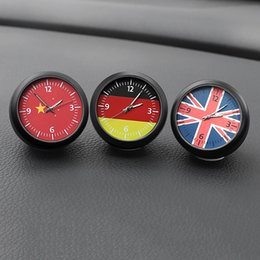 digital dashboard cars Canada - Luminous Car Digital Clock Ornaments German British Flag Auto Quartz Watch Automobiles Interior Dashboard Clock Decoration Gifts