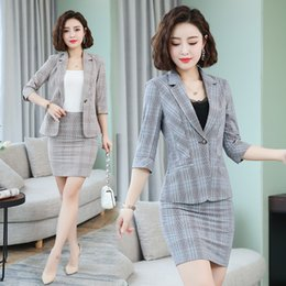 Leisure skirts online shopping - Make P grid female two piece suit small student leisure suit han edition perfume skirt outfit