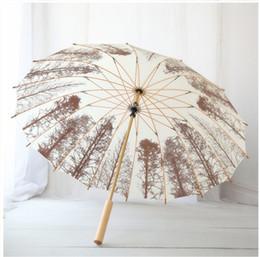 Parasol Handle Australia - Unique Bamboo Long-handle Umbrella Chinese parasols Bridal wedding parasols Fashion pattern Umbrella for Women and Men