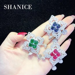 Micro Pave Connectors Australia - SHANICE Red Green Blue Micro Pave Zircon Flower Connectors Charms For Pearl Necklace Jewelry Making DIY Tassels Accessory