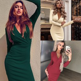 Pearl worked lace online shopping - Women Summer Long Sleeve Bandage Stretch Bodycon Plain Deep V Evening Party Short Dress Beige Black Green Red cny1734