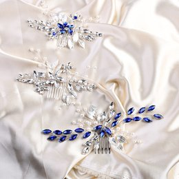 elegant hair combs UK - Silver Blue Color Leaf Hair Combs Accessories Handmade Women Bridal Hair Ornament Pearl Wedding Head Decoration Elegant Tiara
