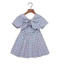 $enCountryForm.capitalKeyWord UK - Summer Girls Princess Plaid Dress Kids Baby Party Wedding Pageant Short sleeve Bow Tie Open back Dresses Clothes