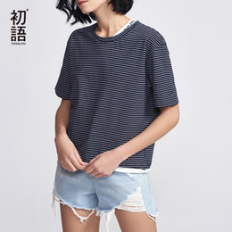 Basic Casual Loose Tees Australia - Toyouth Casual Striped Tees For Women Fashion 2019 Short Sleeve T-shirts Summer Basic Round Neck T Shirt Letter Loose Tops MujerY19042002