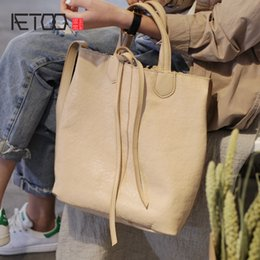 Discount handmade cowhide bags - AETOO Handmade cowhide literary leather lazy wind bag, crossbody bag Large capacity Japanese soft leather special bag