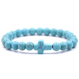 turquoise crosses for bracelets 2019 - 8MM Prayer Beads Natural Stone Green Blue Turquoises Bracelets For Women Jesus Cross Charms Elasticity Yoga Bracelet Men