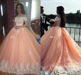 Crystal Gown Year Girl Australia - Blush Pink Lace Sweet 16 Peach Quinceanera Dresses Off Shoulder Appliques Ball Gown Princess Prom 15 Years Girls Prom Party Gowns Custom