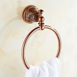 bathroom towel ring brass Canada - Solid Brass Gold Towel Rings Holder with Jade Base Towel Holders Luxury Bathroom Accessories Wall Mounted Towel Rings