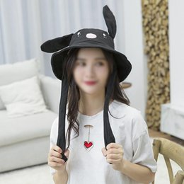 White Black Hats For Kids Australia - Newly Cute Bunny Hat Funny Movable Basin Cap Ear Up Down Rabbit Gift Toy For Kids Girls Girlfriend Drop Shipping Hat Cap
