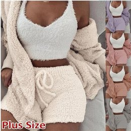 Wholesale long knee woman winter coats for sale - Group buy 2 Fashion Velvet Pajamas Warm Winter Pajamas Suit Sleepwear Long Coat Nightwear For Pajama Party Women Casual Coat Shorts Suit INS