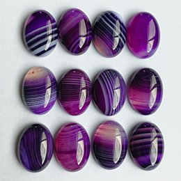 $enCountryForm.capitalKeyWord Australia - atural stone beads Natural stone bead fashion charm purple Striped Onyx for jewelry making 13X18MM cab cabochon oval Ring accessories 20P...