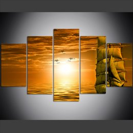 painting sea ocean Australia - 5 Piece Large Size Canvas Wall Art Pictures Ship Sea Ocean Seagull Sky Clouds Sunset Poster Art Print Oil Painting for Living Room