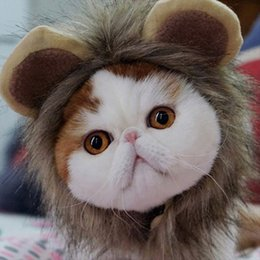 wholesale small toys for easter Australia - Wholesale Pet Supply Cat Toy Lion Hat Cosplay Halloween Costume Cap Mane Pet Lion Costume Pet Lion Hair Wig for Halloween Party