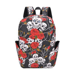 skull canvas backpack NZ - New Canvas Large Capacity Backpack Halloween Outdoor Computer Bag Printed Skull Pattern Student Backpack School Bags