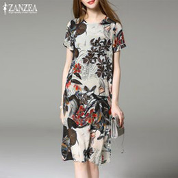 182d17244bae rayon sundresses 2019 - Women s Party Dress 2019 ZANZEA Flower Printed  Sundress Elegant Split Holiday Summer