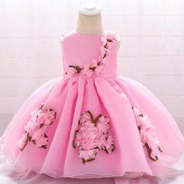 29d7054f2c73 2019 New Elegant Floral Tulle Newborn Baby Girl Christening Gown Appliques Infant  Girl Princess Baptism Dress 1 Year Birthday Clothe