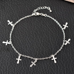 anklet Australia - 2019 Trendy Cross Anklet Bracelet On The Leg For Women Fashion Chain Barefoot On Foot Girl Beach Ankle Bracelets Jewelry Summer