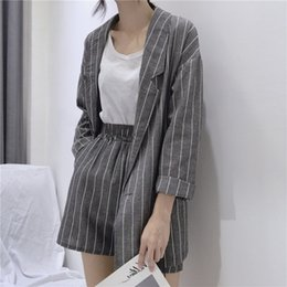 Blazers for women color Blue online shopping - Summer Striped Short Suits for Women Spring Long Sleeve Blazer Jacket Shorts Casual Piece Sets Feminino Cotton Linen Suits T191016