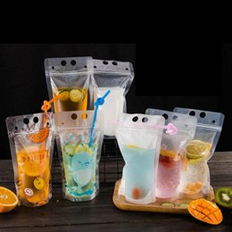 Wholesale 7styles ML Clear Drink Pouches Bags frosted Zipper Stand up Plastic Drinking Bag with holder home diy Heat Proof bag FFA2417