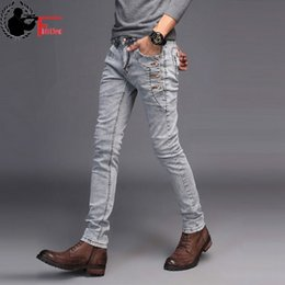 korean style fashion men pants NZ - Jeans Men Young 2019 Fashion Trend Korean Style High Street Streetwear Skinny Slim Fit Button Denim Pant Male Trouser Black Blue Y200116