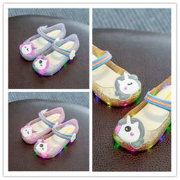 Kids Gold Sandals Australia - Unicorn Cartoon LED Glitter Sandals Melissa Luminous Flashing Jelly Candy Color Sandals Princess Slippers Shoes Soft PU Kids Shoes A51303
