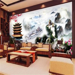Chinese 3d Wall Stickers Australia - custom size 3d photo wallpaper living room mural pagoda deer chinese landscape 3d picture sofa TV backdrop wallpaper non-woven wall sticker