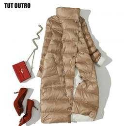 elegant down parka Australia - Winter White Duck Down Jackets Padded Double Wear Down Coat Women Fashion Elegant Double-breasted Long Parka Coat Female U545 Y190918