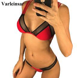 2b114dd13b7 2019 Sexy Mesh Brazilian Bikini Women Swimwear Female Swimsuit Two-piece  Bikini set Bather with V shape Bottom Bathing Suit V971