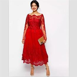 4a2052cdd536 elegant evening formal dresses 2018 red lace prom dresses tea length custom  robes de demoiselle d'honneur long sleev robes de mariée