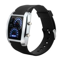 Car Lights Australia - Men's Fashion Silicone Band Watches LED Light Flash Turbo Speedometer Sports Car Dial Meter Watch Sports Clock Relogio Masculino