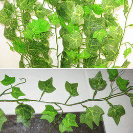 Chinese  1pc 2.4M Plastic Artificial Flower Rattan String Artificial Ivy Green Leaf Garland Plants Vine Fake Foliage Flowers Home Decor manufacturers