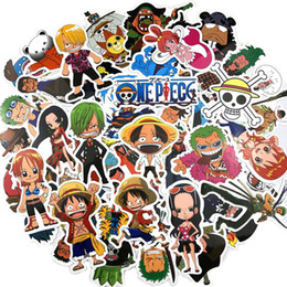 one piece anime toys UK - 10 30 50pcs Pack Cartoon Anime ONE PIECE Sticker Waterproof PVC Skateboard Motorcycle Laptop Luggage Guitar Kids Toys Stickers