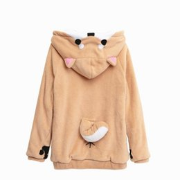 $enCountryForm.capitalKeyWord Australia - oge Shiba Inu Kawaii Lovely Velvet Long-sleeve Hooded Cartoon Anime Cartoon Style Hot Winter Lady Hooded Hoodie