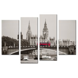 $enCountryForm.capitalKeyWord NZ - The British parliament building Red Bus Canvas Wall Art Modern City Picture Prints on Canvas for Living Room Home Decor